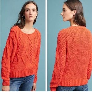 Sleeping On Snow | Cabled Chenille Orange Sweater